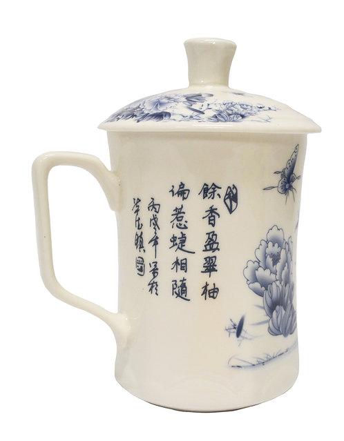 #802183 CERAMIC CUP WITH LID 縮腰杯-水墨牡丹