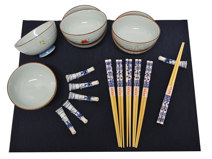 18 PIECES JAPANESE BOWLS COLLECTION,  ITEM# AE125-18-1, 日本瓷碗