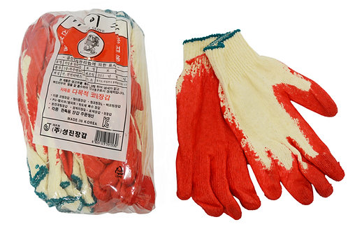 #805100 COTTON GLOVES WITH COATING , 10 PAIRS 沾膠棉布手套