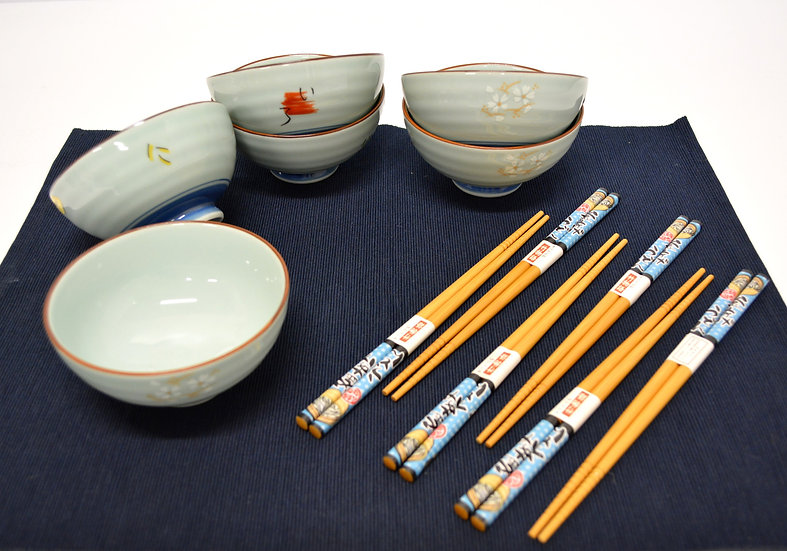 12-PIECES JAPANESE BOWLS COLLECTION,  ITEM# AE125-12, 日本瓷碗套裝組合