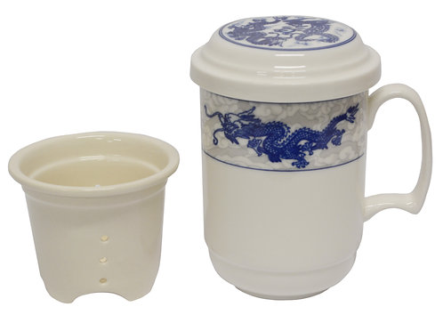 "#802745 TEA CUP WITH FILTER-DRAGON-3.6"" 龍鳳茶杯含濾心(1 SET)"