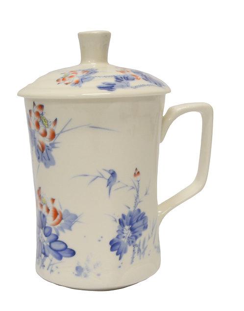 #802180 CERAMIC CUP WITH LID 縮腰杯-藍菊花鳥