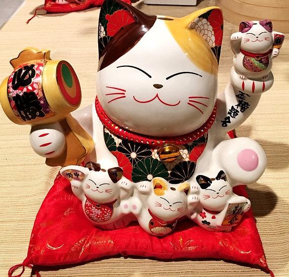 """Japanese Lucky Cat Coin Bank 10""""- Maneki Neko"""
