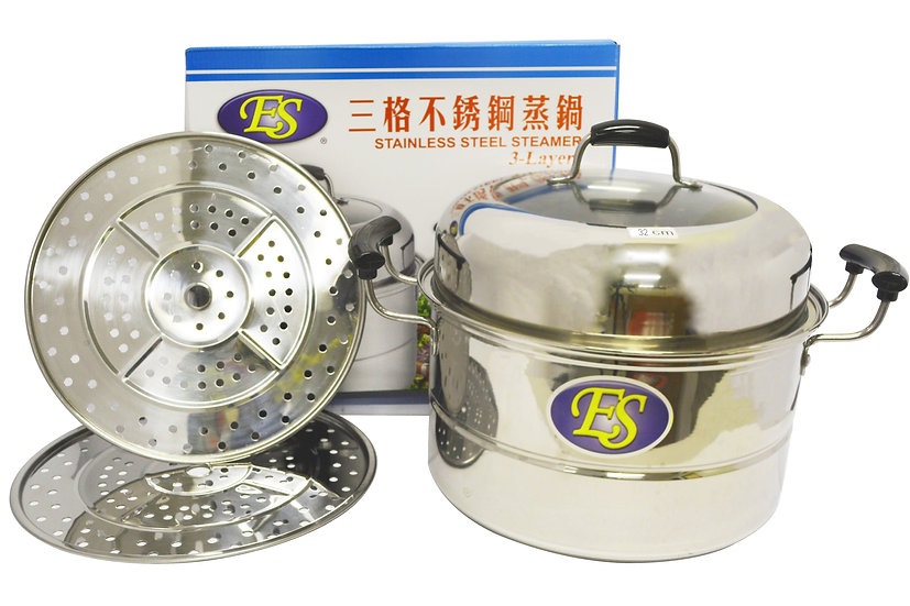32 CM STAINLESS STEEL STEAMER, DOUBLE LAYERS,ITEM# 00800188,多用途不鏽鋼蒸籠2層