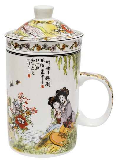 """3"""" CERAMIC CUP WITH LID, 4 PCS, ITEM# 802160, 陶瓷杯/茶杯4 個"""