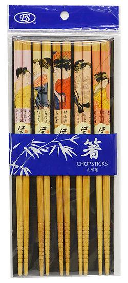 BAMBOO CHOPSTICKS, 5 PAIRS/PACK, 2 PAKCS, ITEM# 801950, 天然竹筷10雙