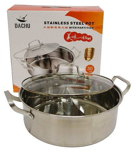 #800130 STAINLESS STEEL HOT POT(#304)-30CM 不銹鋼鴛鴦火鍋