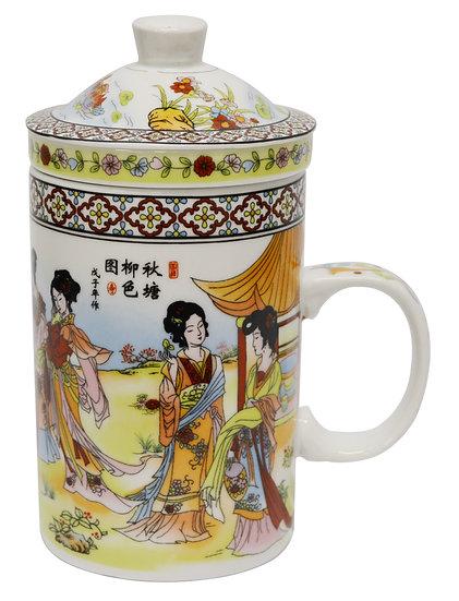 """3"""" CERAMIC CUP WITH LID, 4 PCS, ITEM# 802161, 陶瓷杯/茶杯4 個"""