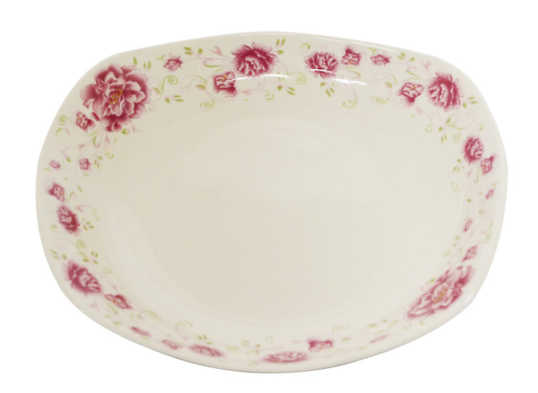 "8"" CERAMIC DINNER PLATES,ITEM#00802520,日常弧形瓷盤-紅花(3 PCS)"