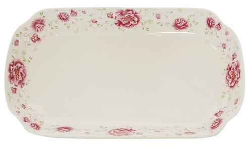 "#802526 LONG PLATE-RED FLOWER-12"" 紅花長盤(3 PCS)"