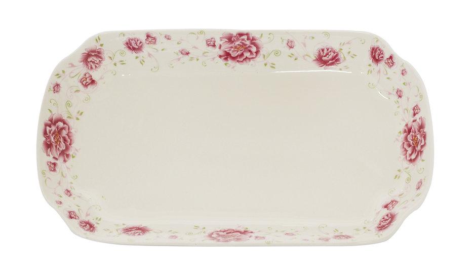 "11"" LONG DINNER PLATES,ITEM#00802525,日常用長方形瓷盤-紅花(3 PCS)"