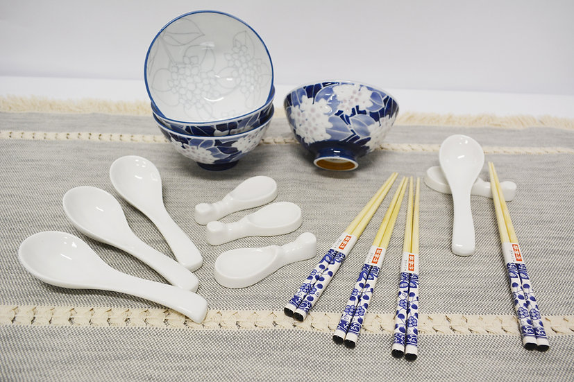 16 PIECES JAPANESE BOWLS COLLECTION /DINNER BOWLS, ITEM# AG031-16, 日本瓷碗/飯碗套裝組合