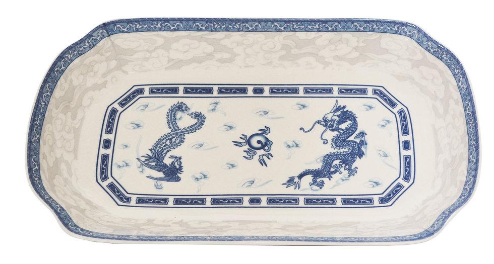 "12"" DINNER PLATES-BLUE DRAGON,ITEM#00802726,日常長方瓷盤-龍鳳(3 PCS)"