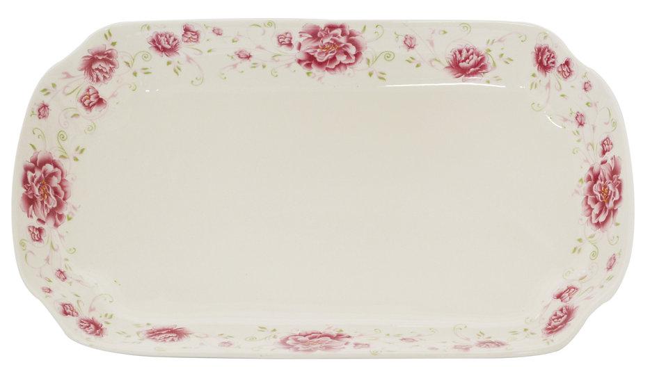 "12"" LONG DINNER PLATES, ITEM#00802526,日常用長方形瓷盤-紅花(3 PCS)"