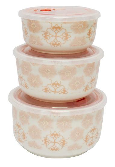 CERAMIC BOWL WITH LID,  3 PCS,  ITEM#  00802156,   3個瓷碗帶蓋