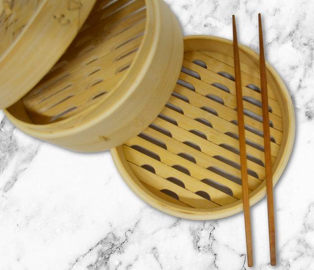 BAMBOO STEAMER 3 LAYERS 6 INCH / FOOD STEAMER ,  ITEM# 00801880,  3 層竹蒸籠