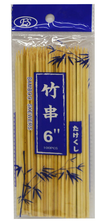 "#801810 BAMBOO BBQ  SKEWERS-6"" 竹串/燒烤竹串"