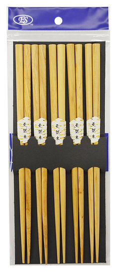 WOOD CHOPSTICKS, 5 PAIRS/PACK, 2 PACKS, ITEM# 801942, 天然木筷子10雙