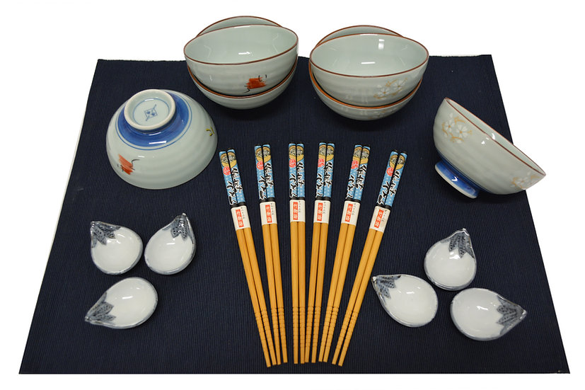 18-PIECES JAPANESE BOWLS COLLECTION,  ITEM# AE125-18-2, 日本瓷碗套裝組合