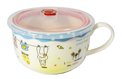 """#802172 CERAMIC CUP WITH LID -6"""" 陶瓷保鮮碗"""
