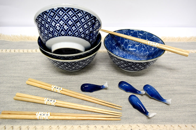 12-PIECES JAPANESE BOWLS COLLECTION,  ITEM#AG015-12, 日本瓷碗套裝組合