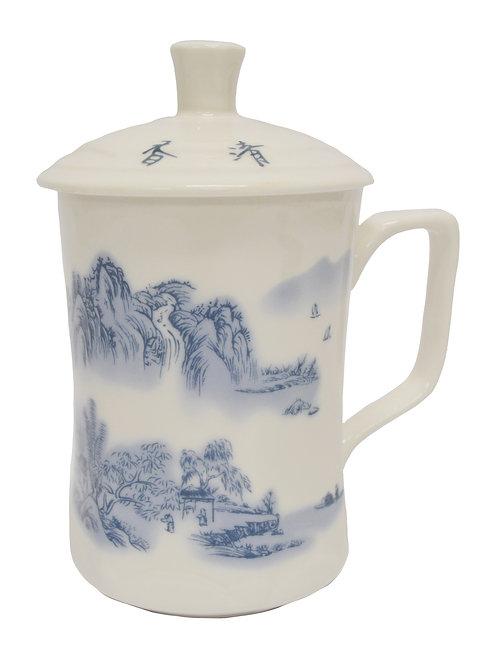 #802181 CERAMIC CUP WITH LID 縮腰杯-山間雲海