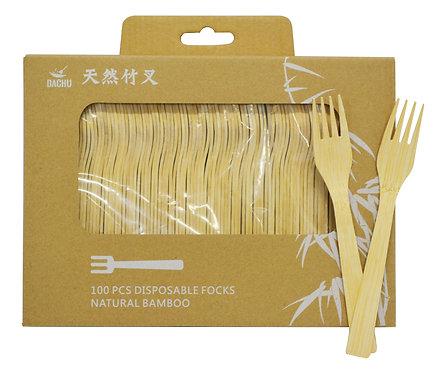 #801261 NATURAL BAMBOO DISPOSABLE FORKS-(100 PCS/BOX)天然竹一次性餐叉 (100 把/盒)