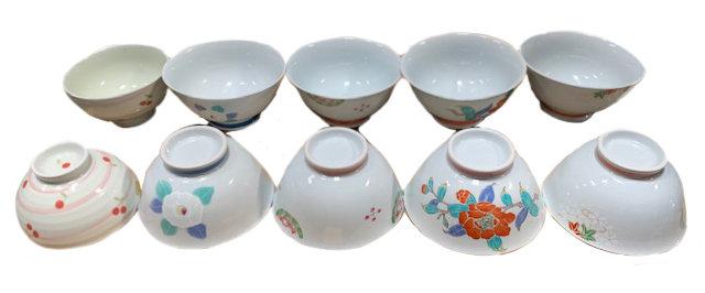 JAPANESE  ARITA RICE  BOWL, 6 PCS, ITEM#AE-045, 日本瓷碗/飯碗 6 個