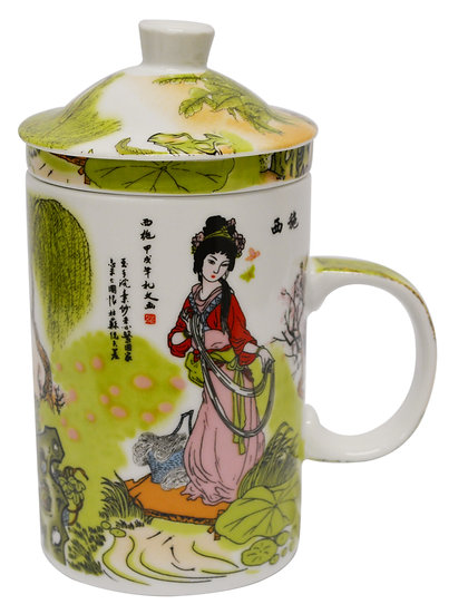 """3"""" CERAMIC CUP WITH LID, 4 PCS, ITEM# 802162, 陶瓷杯/茶杯4 個"""
