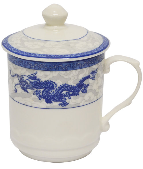 "#802743 TEA CUP-DRAGON-3.6"" 龍鳳茶杯帶蓋(1 SET)"