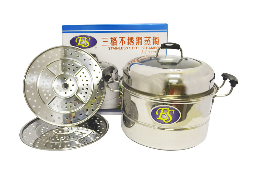 28CM STAINLESS STEEL STEAMER DOUBLE LAYERS, ITEM# 00800186,  多用途不鏽鋼蒸籠2層
