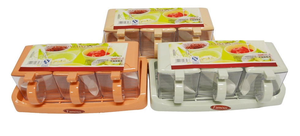 CONDIMENT /SEASONING POT SET,ITEM#00803024, 三組調味盒(方形)(3 PCS/SET)
