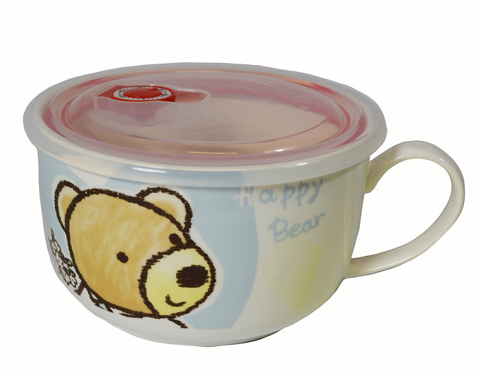 """CERAMIC CUP WITH LID FOR KID - 6"""",  ITEM#  00802174,  小朋友的水杯帶蓋"""