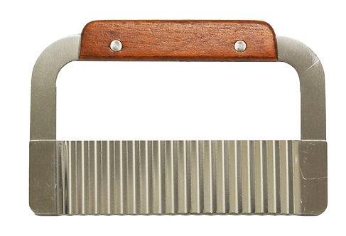 #801387 WOOD HANDLE VEGETABLE SALAD CHOPPING KNIFE 木柄蔬果沙拉波浪刀