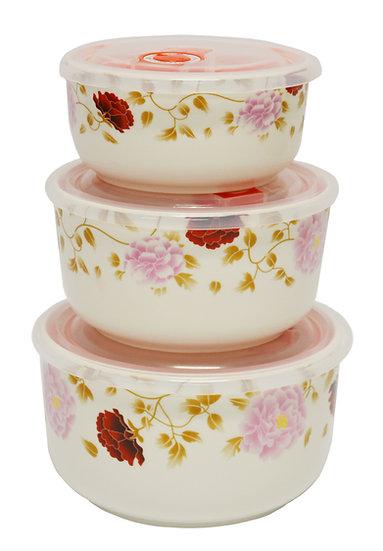 CERAMIC BOWL WITH LID,  3 PCS,  ITEM#  00802153,    3個瓷碗帶蓋