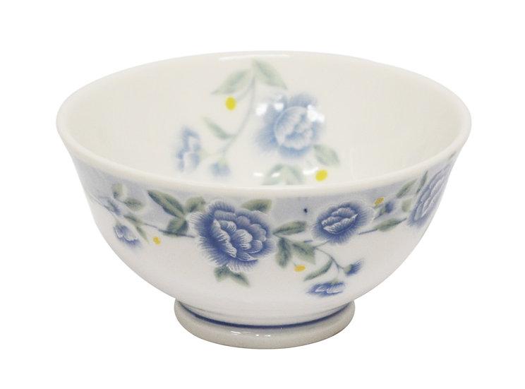 """3.5"""" CERAMIC RICE BOWL, 6 PIECES,  ITEM# 802300, 藍牡丹小飯碗-反口 6 個碗"""