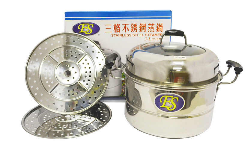 30 CMSTAINLESS STEEL STEAMER, DOUBLE LAYERS,ITEM#00800187,多用途不鏽鋼蒸籠2層