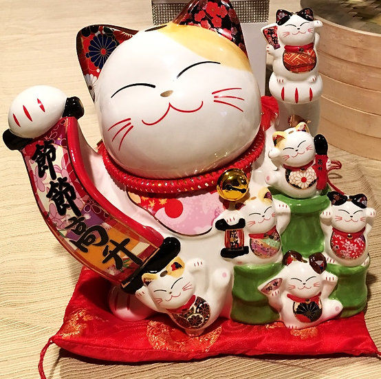 "Lucky Cat Coin Bank 10""(86113),ITEM#00808443,招財貓錢罐(1 PCS)"