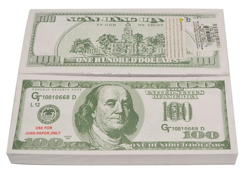 JOSS PAPER (PAPER MONEY), 8 OZ/BAG ,  6 BAGS,  ITEM #  00804021,   美金冥幣 6 小包