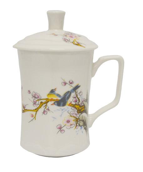 CERAMIC CUP WITH LID, 4 PCS, ITEM# 802182, 紅梅雙鳥陶瓷杯/茶杯4個