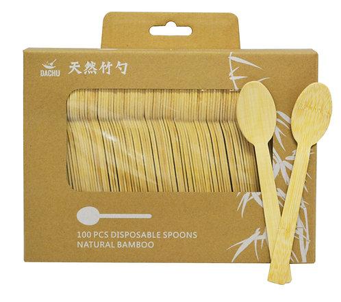 #801260 NATURAL BAMBOO DISPOSABLE SPOONS-(100 PCS/BOX)天然竹一次性湯匙(100 把/盒)