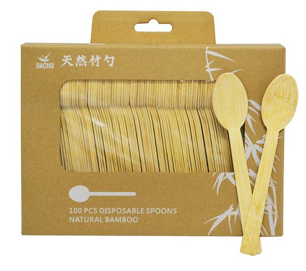 NATURAL BAMBOO DISPOSABLE SPOONS,ITEM# 00801260,天然竹湯匙(100 PCS)