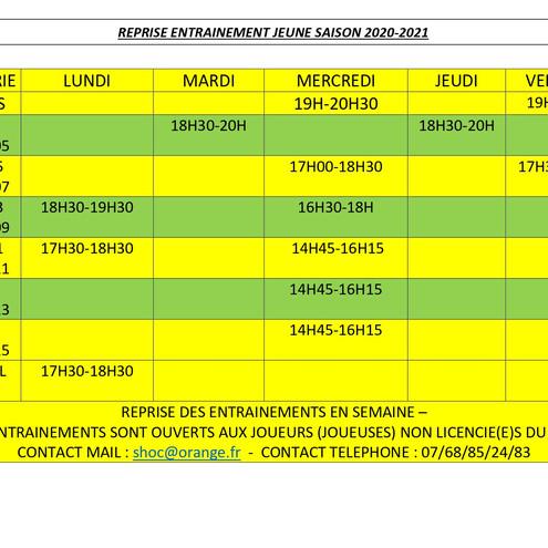 Planning des entrainements mis à jour ce 28 mai