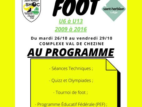 Stage de Foot U6-U13 Octobre 2021
