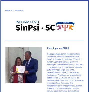 Informativo online 01 - SinPsi/SC