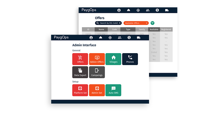 Admin Interface Platform settings PaygOps