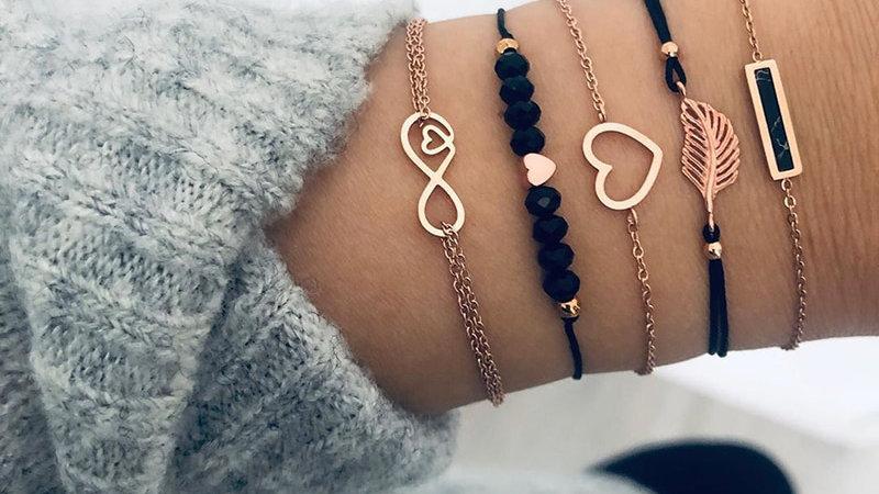 Bohemian Black Beads Chain Bracelets Bangles