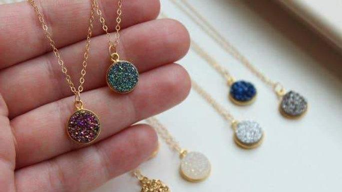 Round Druzy Necklace