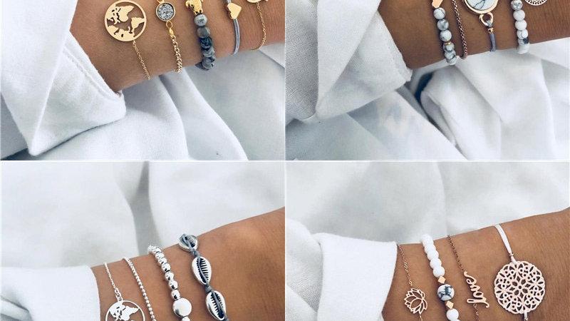 New Bohemian Marble Stone Beads Bracelet Set