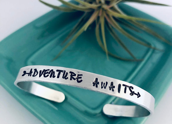 Aluminum - Adventure Awaits Cuff/Bangle Bracelet
